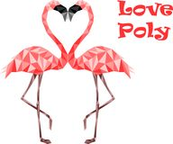 Pink low poly flamingos in love. Web secure colors Stock Image