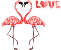 Pink low poly flamingos in love. Web secure colors Royalty Free Stock Image