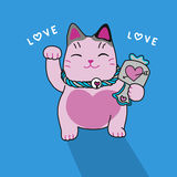 Pink lucky cat cute cartoon illustration. On blue background Royalty Free Stock Photos