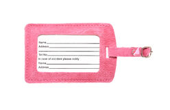 Pink luggage label isolated royalty free stock photos