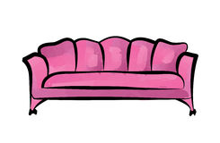 Pink luxury sofa  over white background. Furniture Interior couch  illustration. Stock Photography