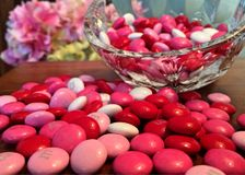 Pink M&ms on Table Royalty Free Stock Images