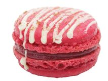 Pink macaron cake on white background Royalty Free Stock Photos