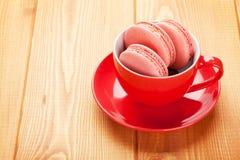 Pink macaron cookies Stock Photos