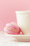 Pink macaron homemade on pink background toned, vertical Royalty Free Stock Image