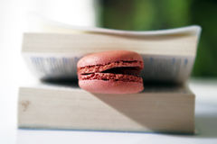 Pink macaron. In an opened book Royalty Free Stock Image