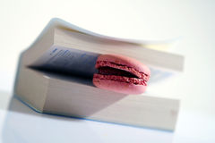 Pink macaron. In an opened book Royalty Free Stock Images
