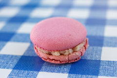 Pink macaron sitting on a blue check pattern Stock Photos