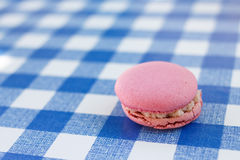 Pink macaron sitting on a blue check pattern Royalty Free Stock Photos