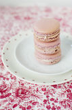 Pink macarons. Delicate and elegant wedding pink macaroons with white cream on floral background Royalty Free Stock Images