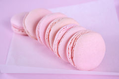 Pink macarons close up. Stock Photography