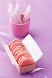 Pink macarons in gift box with ribbon Stock Photo