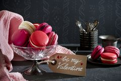 Pink macarons for Valentine`s Day royalty free stock photos