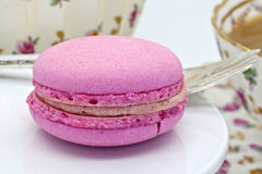 Pink macaroon biscuit close-up. Stock Images