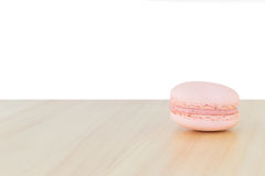 Pink Macaroon , Macaron on wood with white background. Pink Macaron , Macaroon on wood with white background royalty free stock photo