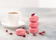 Pink macaroons with dried flower buds and cup of coffee. Pastel royalty free stock photo