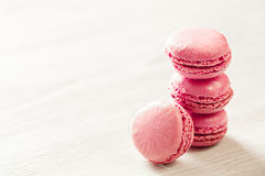 Pink macaroons french sweets stack Stock Photo