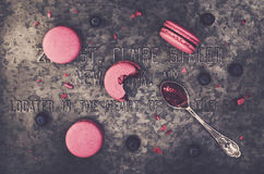 Pink macaroons and fresh blueberries Royalty Free Stock Photography
