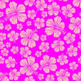 Pink on magenta random hibiscus flower pattern seamless repeat background. Two colour random hibiscus flower pattern seamless repeat background. Could be used Stock Photography