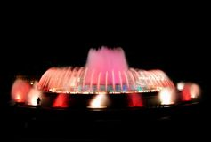 Pink magic fountain. Montjuic magic fountain. A lights,colors and music spectacle at night, displayed in magic fountains situated in Barcelona (Spain Stock Photography
