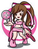 Pink Magic game girl. Cute girl in game with pink magic power Stock Photo