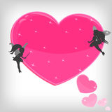 Pink magic heart with little fairies Stock Photography