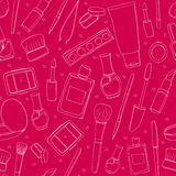 Pink makeup background with tools, brushes Royalty Free Stock Image