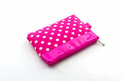 Pink makeup bag, accessory. Royalty Free Stock Image