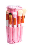 Pink makeup brush set Stock Photos