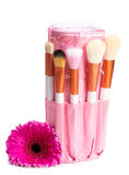 Pink makeup brush set with flower Royalty Free Stock Images
