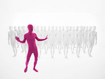 Pink man dancing in front of a crowd Royalty Free Stock Image