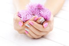 Pink manicure with chrysanthemum flowers. spa Stock Image