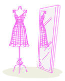 Pink mannequin. PiIllustration of a retro pink dress form and mirror Stock Photography
