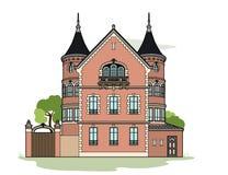 Pink mansion. Vector illustration of a mansion, EPS 8 file Stock Images