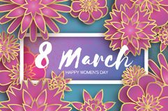 Pink 8 March. Gold Purple Happy Women s Day. Mother s Day. Paper cut Floral Greeting card. Origami flower. Text. Rectangle frame. Spring blossom on blue sky stock illustration