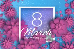 Pink 8 March. Happy Mother s Day. Pink white Paper cut Floral Greeting card. Origami flower .Square Frame, space for. Text. Happy Women s Day. Text. Spring Stock Images