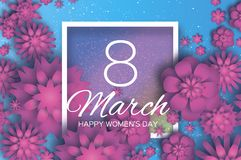 Pink 8 March. Happy Mother`s Day. Pink white Paper cut Floral Greeting card. Origami flower .Square Frame, space for. Text. Happy Women`s Day. Text. Spring Stock Image