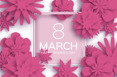 Pink 8 March. Happy Women s Day. Paper cut Floral Greeting card. Origami flower. Square outline Frame, space for text. Happy Mother s Day. Text. Spring blossom Royalty Free Stock Photos