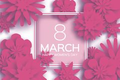 Pink 8 March. Happy Women`s Day. Trendy Mother`s Day. Paper. Cut Floral Greeting card. Origami flower. Text. Square ribbon frame. Spring blossom on white Royalty Free Stock Photo