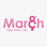 Pink `MARCH` Typographical Design Elements. International women`s day icon.Women`s day symbol.Minimalistic design for international women`s day concept.Vector Royalty Free Stock Image