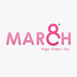 Pink `MARCH` Typographical Design Elements. International women`s day icon.Women`s day symbol.Minimalistic design for international women`s day concept.Vector Royalty Free Illustration