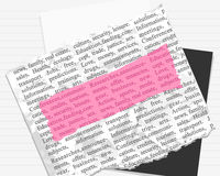 Pink mark on paper and text Royalty Free Stock Photography