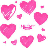 Pink marker painted isolated vector hearts Royalty Free Stock Photos