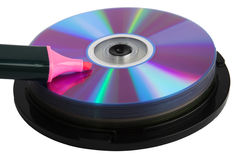 Pink marker on pile of compact disks Royalty Free Stock Image