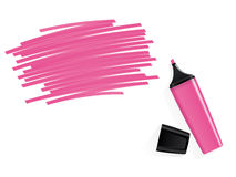 Pink marker with scribbled space for text Royalty Free Stock Photo