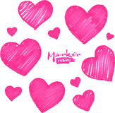 Pink marker stains textured hearts set Royalty Free Stock Photos