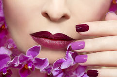 Pink maroon manicure . Pink maroon manicure on a young woman with orchids Royalty Free Stock Photo