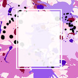 Pink maroon purple lilac ink splashes ellipse frame template. Pink maroon purple lilac artistic ink splashes vector background. Greeting card or invitation Stock Image