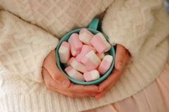 Pink marshmаlow cozy dreams of a young girl. Pink marshmelow, cozy dreams of a young girl,  appetizing, tender pastel tones, photo for background.The girl is Royalty Free Stock Photo