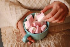 Pink marshmаlow cozy dreams of a young girl. Pink marshmelow, cozy dreams of a young girl,  appetizing, tender pastel tones, photo for background.The girl is Royalty Free Stock Photos